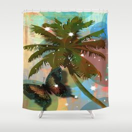 Palm tree and Butterfly Shower Curtain