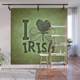 I Love Irish St Patrick's Day Green Shamrock Wall Mural