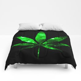 Weed : High Times green Galaxy Comforters