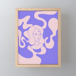 Abstract Psychedelic Illustration, Girl with a Third Eye , Pink and Purple Liquid Smokу Drawing Framed Mini Art Print