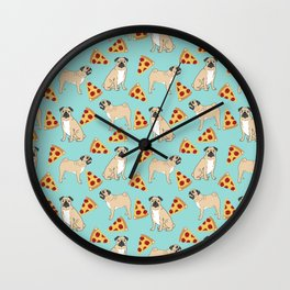 Pug Pizza Party cute pug dog owner gifts food pet gifts puggle puppy dog pet portrait trendy  Wall Clock