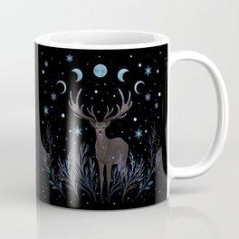 Deer in Winter Night Forest Coffee Mug