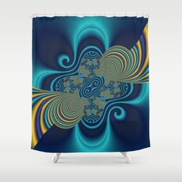 fractal and turquoise Shower Curtain