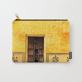 Antique door in India - Bright yellow marigold wall Carry-All Pouch