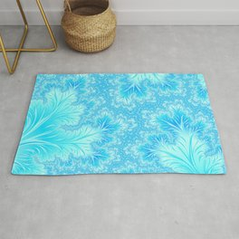 Abstract Christmas Aqua Blue Branches. Cute nature pattern Rug