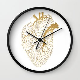 Heart Branches - Gold Wall Clock