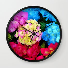 Red Blue Rose Flower Blossoms Hydrangeas Wall Clock