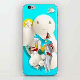 Time bunny girl and clouds iPhone Skin