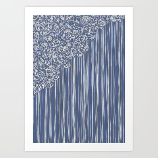 The Unraveling of Paisley Lace (in blue and cream) Art Print