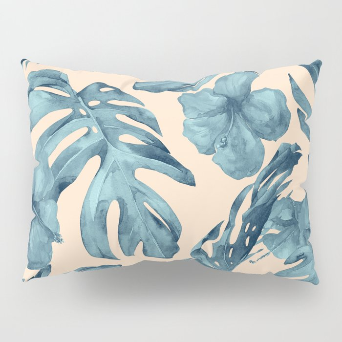 Island Vacay Hibiscus Palm Pale Coral Teal Blue Pillow Sham