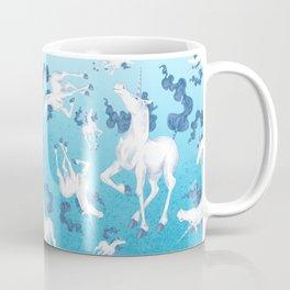 Stencil Unicorn on Teal Sky and Cloud Spray Coffee Mug