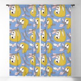 Sloth pattern in blue Blackout Curtain