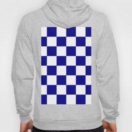 Large Checkered - White and Dark Blue Hoody
