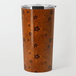 Burnt Orange Grunge Flowers and Hearts Pattern Gift Ideas Travel Mug