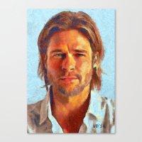 brad pitt Canvas Prints featuring Brad Pitt I by Nick Arte