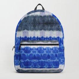 tie dye ancient resist-dyeing techniques Indigo blue grey lilac textile Backpack