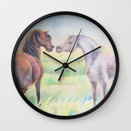 Horse Greeting In Wildflower Meadow Wall Clock