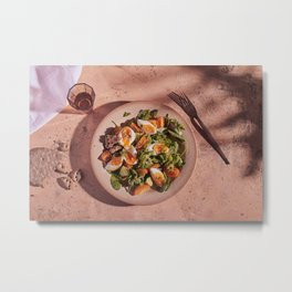 Mediterranean egg salad with glass and fork and tree shadow Metal Print
