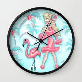 Pinup Doll Walking a Flamingo Wall Clock
