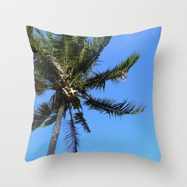 Coconut tree and blue sky Throw Pillow