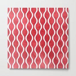 Retro Tie Dye Ogee Pattern 315 Red Metal Print