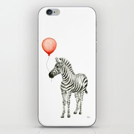 Baby Zebra with Red Balloon iPhone Skin