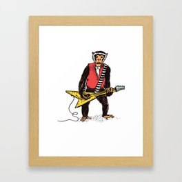 Guitarist Monkey Rocker Funny Animal Monkey Drawing Guitar Player Framed Art Print