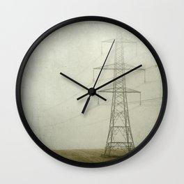 Pylons in the Mist Wall Clock