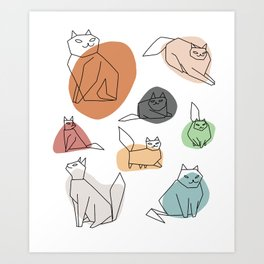 Cat in Moods Art Print