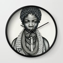 Trial Girl with Dreadlocks and Earring Wall Clock
