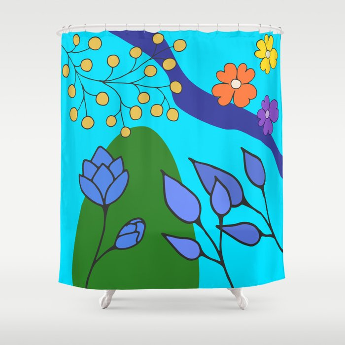Abstract Flowers on Aqua Shower Curtain