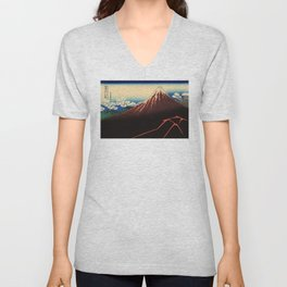 Rainstorm Beneath the Summit (Sanka hakū or 山下白雨) Unisex V-Neck