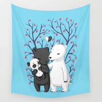 family Wall Tapestries featuring Bear Family by Freeminds