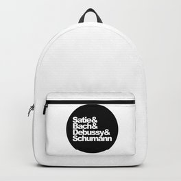 Satie and Bach and Debussy and Schumann, circle, black Backpack