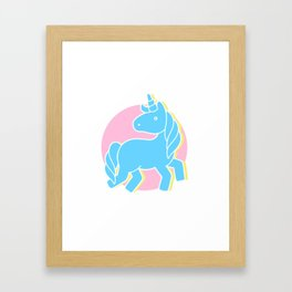 Blue unicorn in a pink world Framed Art Print