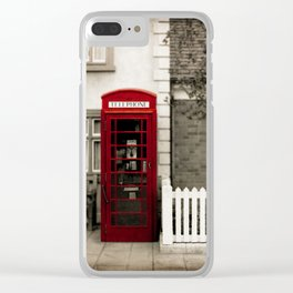 Red Telephone Booth Sepia Spot Color Photography Clear iPhone Case