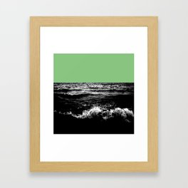 Black Wave w/Mint Green Horizon Framed Art Print