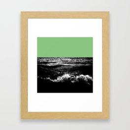 Black Wave w/Mint Green Horizon Framed Art Print