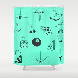 Teal Flash Sheet Shower Curtain