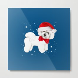 Bichon Frise red christmas holiday themed pattern print pet friendly dog breed gifts Metal Print
