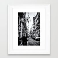 barcelona Framed Art Prints featuring Barcelona  by Monochrome by Juste Pixx