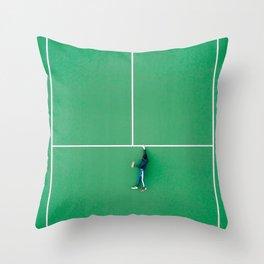Tennis court green Throw Pillow