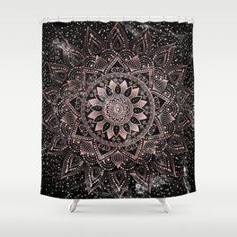 Elegant rose gold mandala dots and marble artwork Shower Curtain