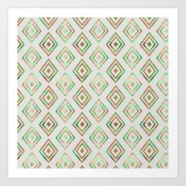 Abstract geometrical brown lime green ethno diamonds pattern Art Print