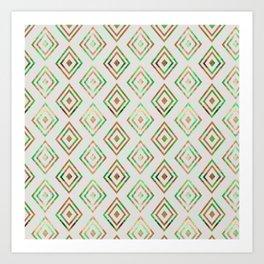 Abstract geometrical brown lime green ethno diamonds pattern Art Print