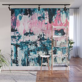 Inside out | Navy blue pastel pink abstract original acrylic painting Wall Mural