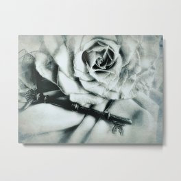 Rose and Old Key Vintage Style Modern Country Modern Cottage Art A481 Metal Print