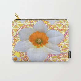 WHITE DAFFODILS DELICATE VIOLET SCROLLS ART  PATTERN Carry-All Pouch