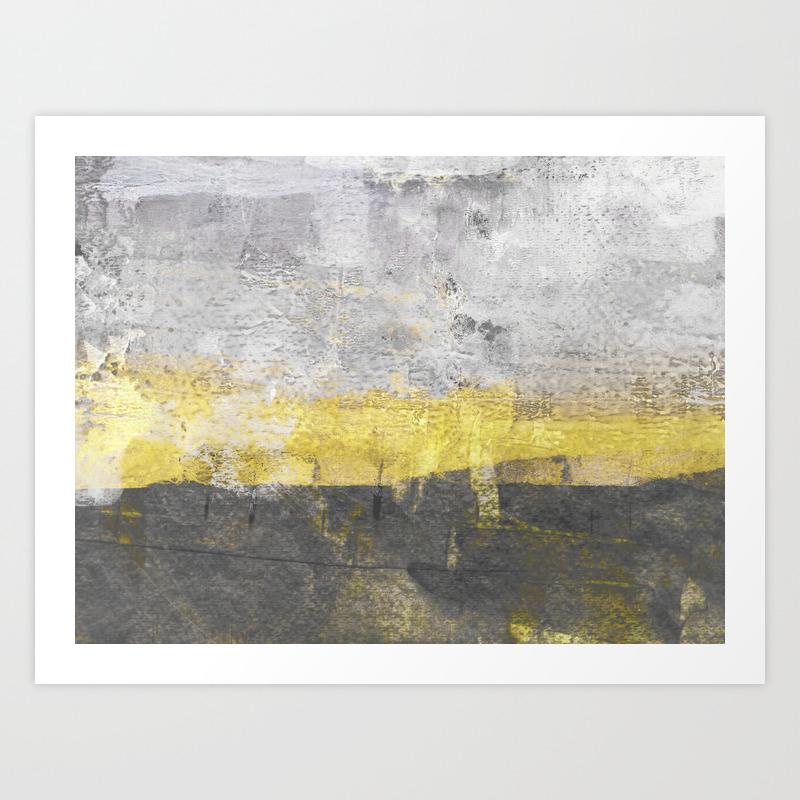 Yellow and grey abstract painting horizontal art print