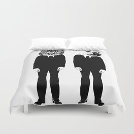 The Cat and Dog Business Men Duvet Cover